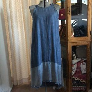 Trina Turk Phlox Hi-Lo Denim Dress w/ Vest S